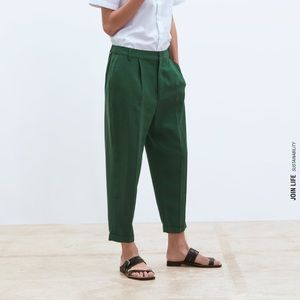 Zara linen pant - red, green & black